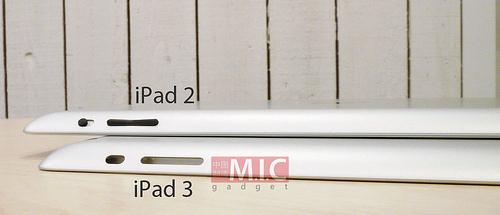 「iPad 3」と「iPad 2」の側面の比較写真!?