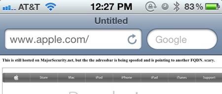 「iOS 5.1」のSafariのアドレスバーにセキュリティの問題!?