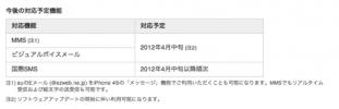 KDDI、「iPhone 4S」のMMS対応はソフトウェアアップデート後の4月中旬に延期