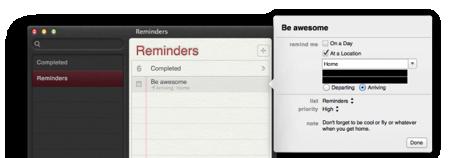 「OS X Mountain Lion」のベータ版のリマインダーアプリに、ロケーションベースのアラーム通知機能が追加!?