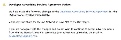 Apple、「iAd」のデベロッパーへの収益シェアを60%から70%へ