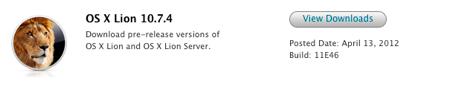 Apple、デベロッパー向けに「OS X 10.7.4(blild 11E46)」リリース