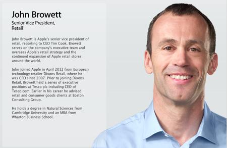 Apple、「Apple Leadership」のページでリテール担当バイスプレジデントのJohn Browett氏を紹介