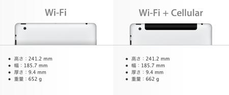 Apple、「新しいiPad」の「Wi-Fi +4G」の名称を日本でも「Wi-FI+Cellular」に変更