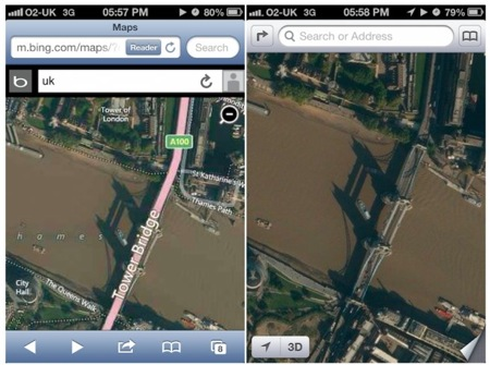 Bing maps vs ios 6 maps