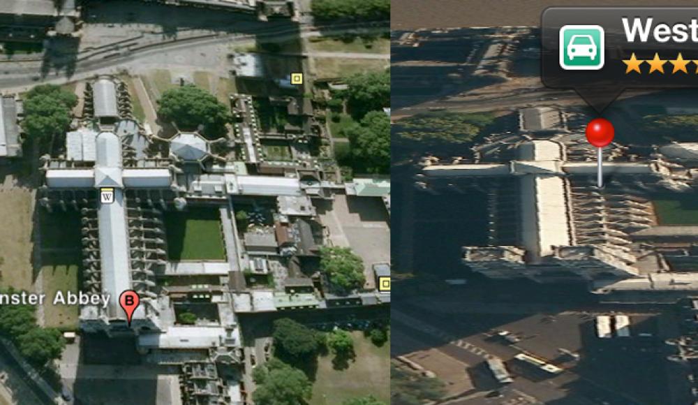 Appleの3DマップとGoogleの3Dマップの比較画像