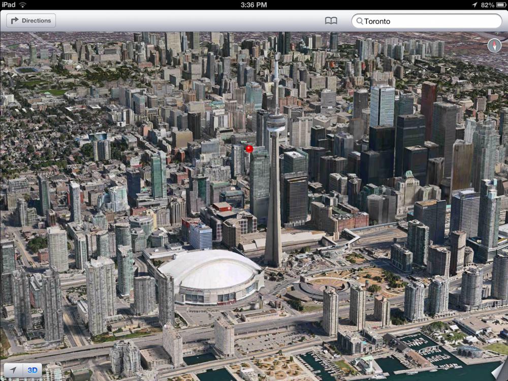 「iOS 6 beta 4」では3Dマップの対応都市が増えている
