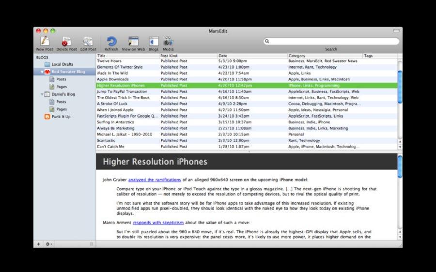 Macで人気のブログエディター「MarsEdit」がアップデート、「OS X Mountain Lion」とRetinaディスプレイに対応