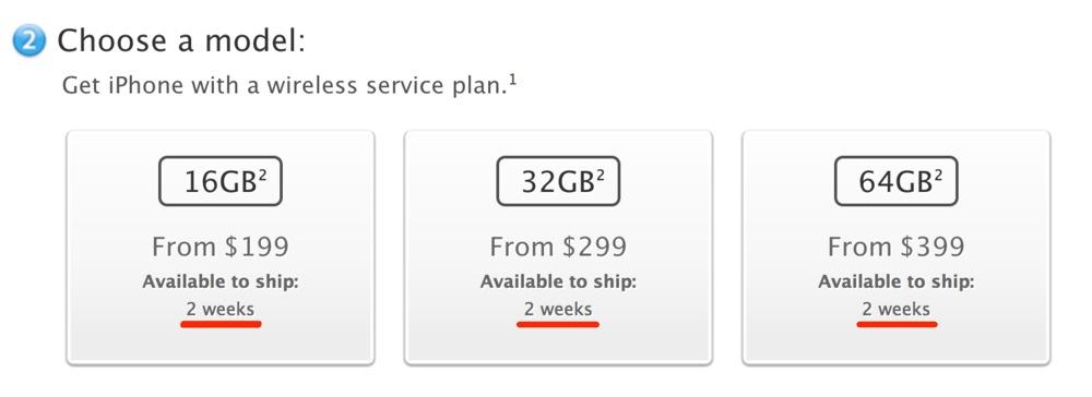 各国のApple Online Storeの「iPhone 5」の出荷予定日が「2weeks」に