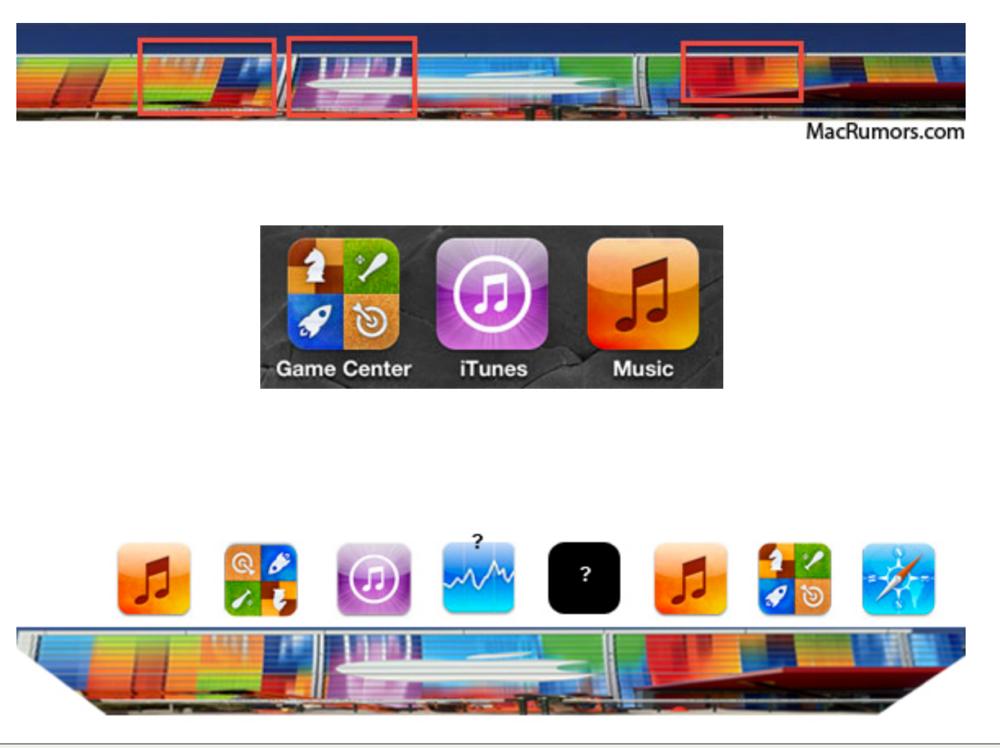 Appleのイベント会場に飾られているバナーは、iOSアプリのアイコンを縦に引き延ばした柄か!?