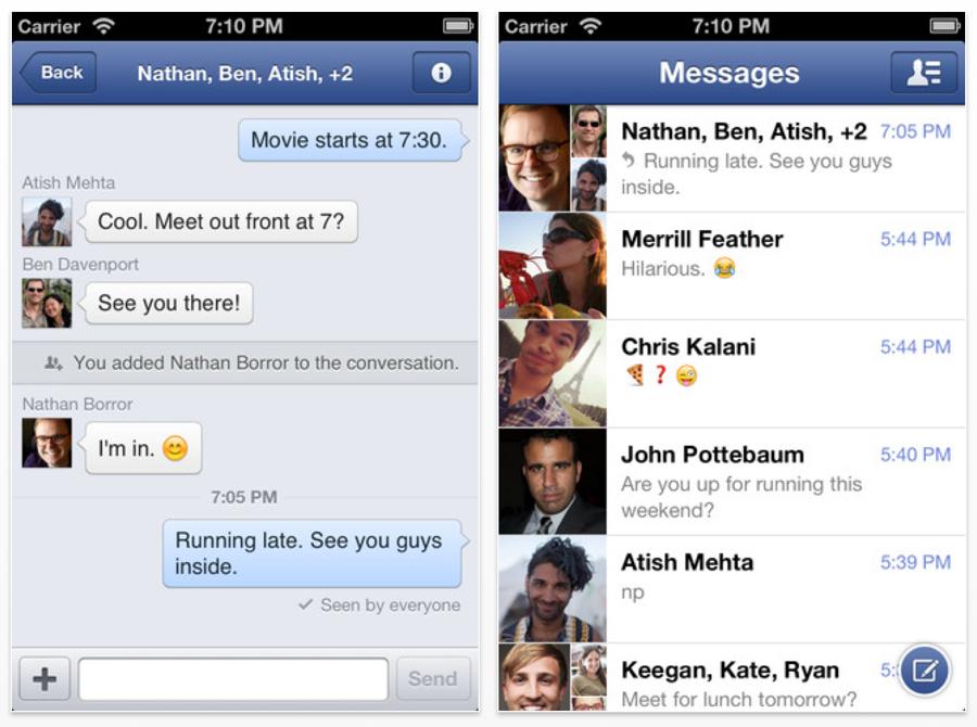 Facebook、「iOS 6」と「iPhone 5」に対応した「Facebookメッセンジャー 2.0」リリース