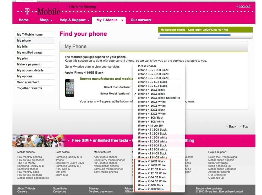 T-Mobile.UKのシステム内に4つの異なる「iPhone X」というプレースホルダが表示される!?