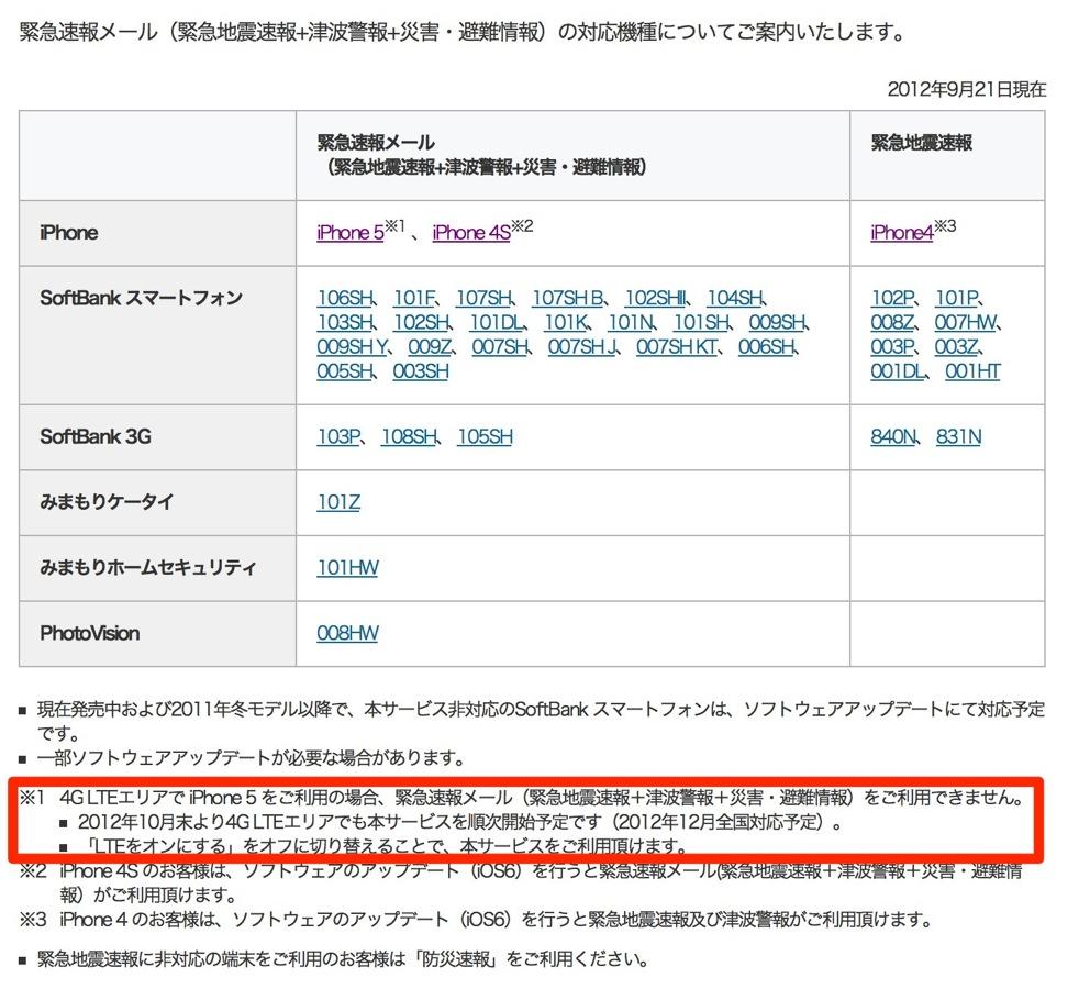ソフトバンク版「iPhone 5」、LTEエリア内での緊急地震速報の受信は10月末から