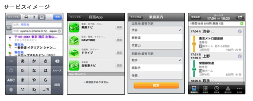 ナビタイムが提供する4つのアプリ、iOS 6「マップ」アプリのナビゲーション機能と連動