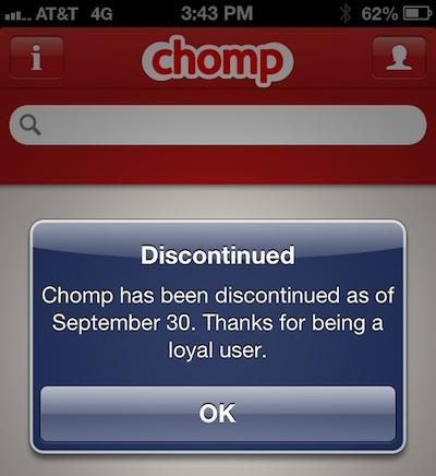 Apple、chompのサイトを閉鎖し、既存のアプリも使用停止に