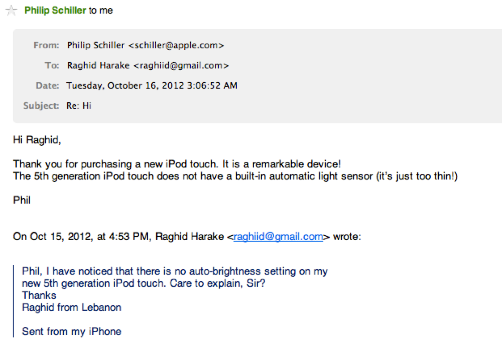フィル・シラー氏、「iPod touch(第5世代)」に輝度センサーが非搭載な理由について、「薄すぎるため」と答える!?