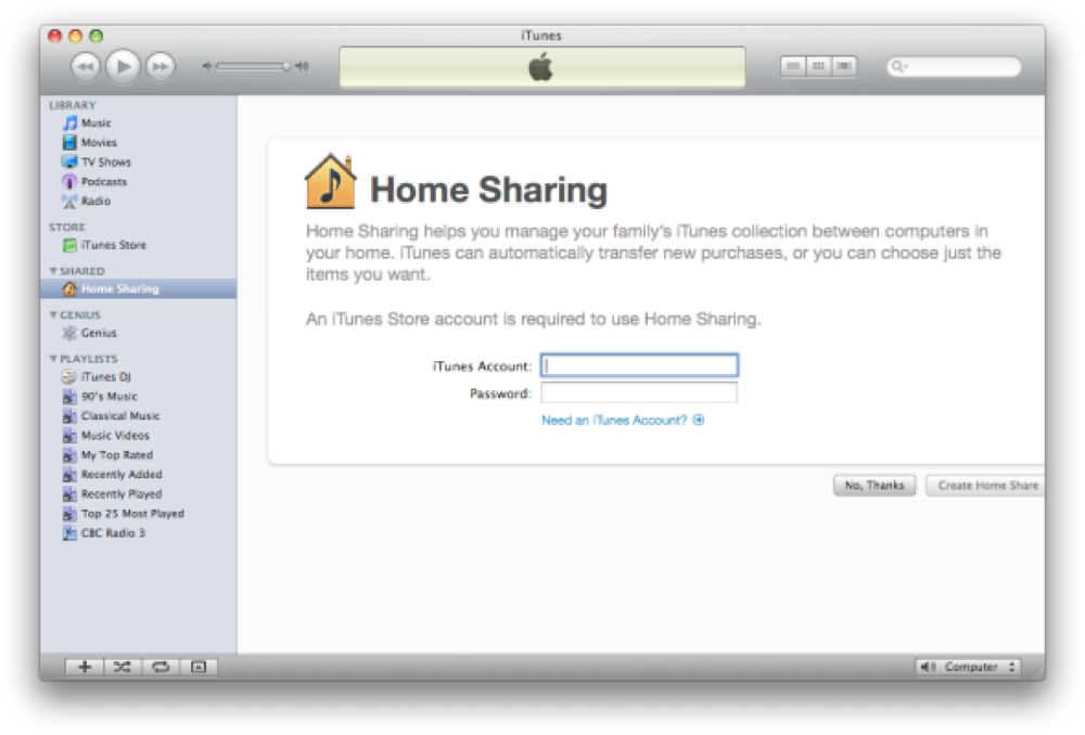 Itunes9 homesharing