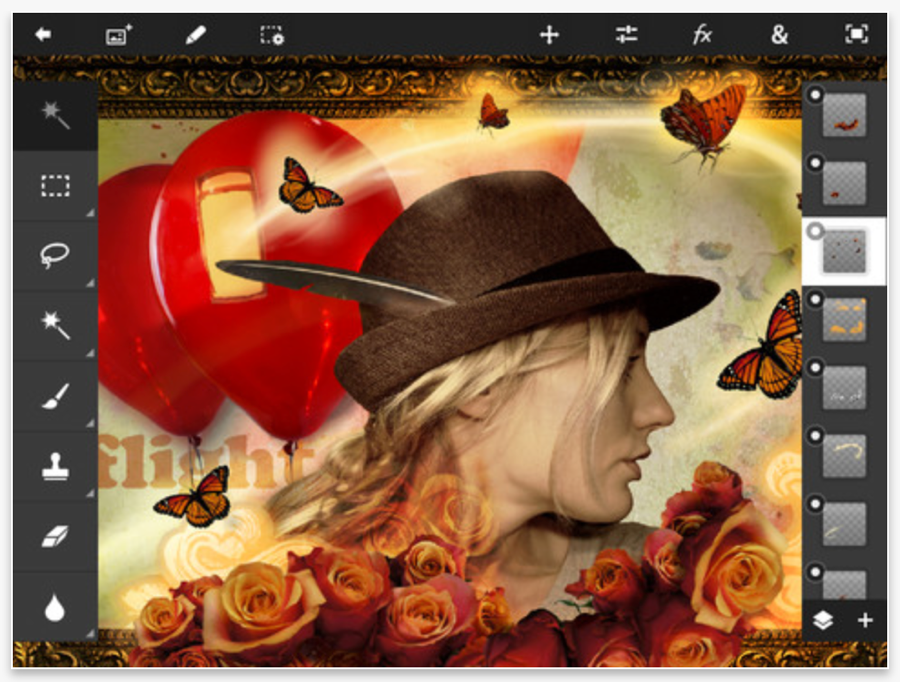 Adobe、「iPad mini」に最適化するなどしたiPad用アプリ「Adobe Photoshop Touch 1.4」リリース