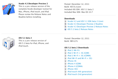 Apple、デベロッパー向けに「iOS 5.1 beta 2」「Xcode 4.3 Developer Preview 2」リリース