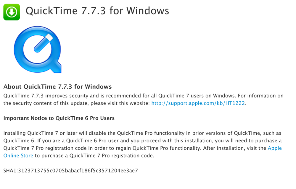 Apple、「QuickTime 7.7.3 for Windows」リリース