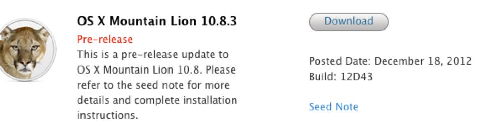 Apple、デベロッパー向けに「OS X 10.8.3 (Build 12D43)」リリース