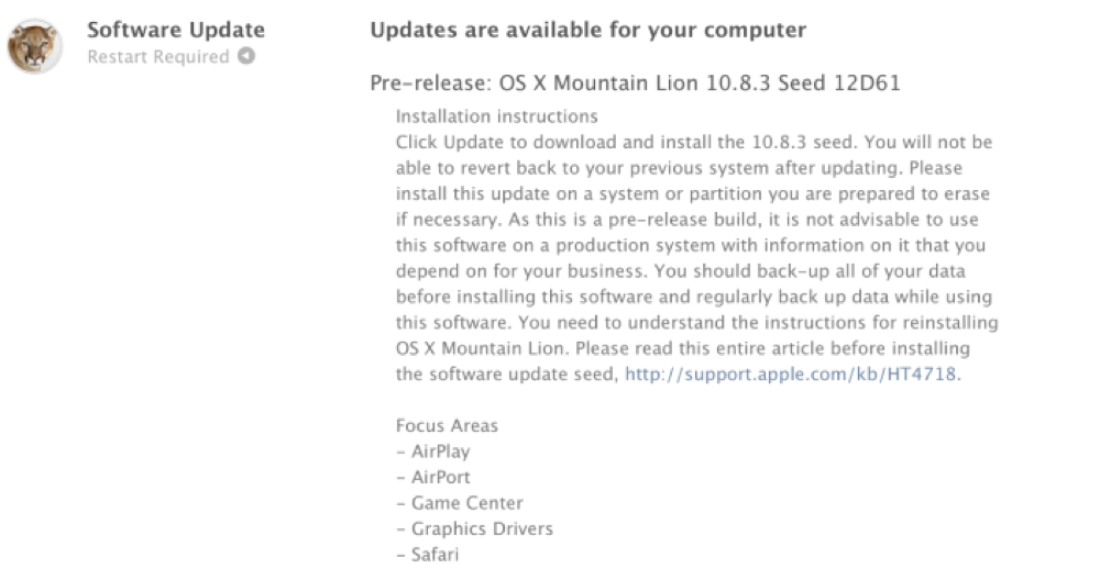 Apple、デベロッパー向けに「OS X Mountain Lion 10.8.3 (build 12D61)」リリース