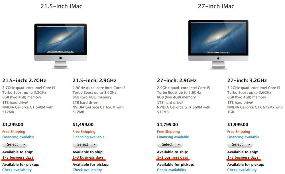 アメリカのApple Online Storeでは、「iMac (Late 2012)」の出荷予定日が「1-3営業日」に改善