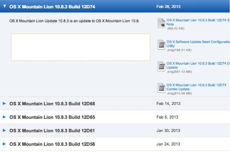 Apple、デベロッパー向けに「OS X 10.8.3 (build 12D74)」リリース