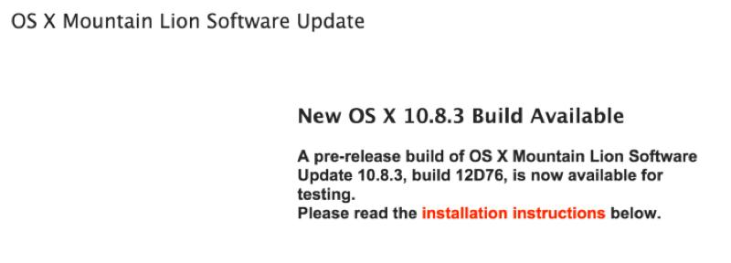 Apple、デベロッパー向けに「OS X 10.8.3 (build 12D76)」リリース