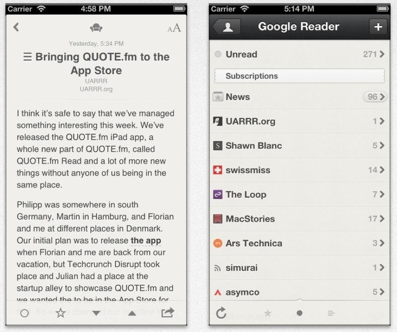 iPhone向けRSSリーダーアプリ「Reeder」、ローカルRSS、Feedbinに対応したバージョンをリリース