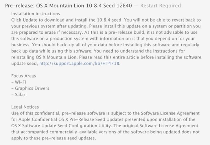 Apple、デベロッパー向けに「OS X 10.8.4 build 12E40」リリース