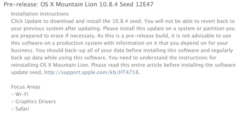 Apple、デベロッパー向けに「OS X 10.8.4 beta build 12E47」リリース
