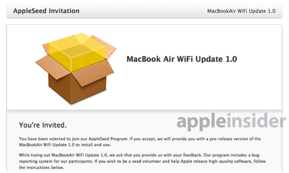 Apple、Wi-Fiの不具合の修正のためと思われる「MacBook Air WiFi Update 1.0」のテストを準備!?