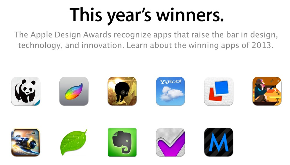 Apple、「Apple Design Awards 2013」の受賞アプリを公開