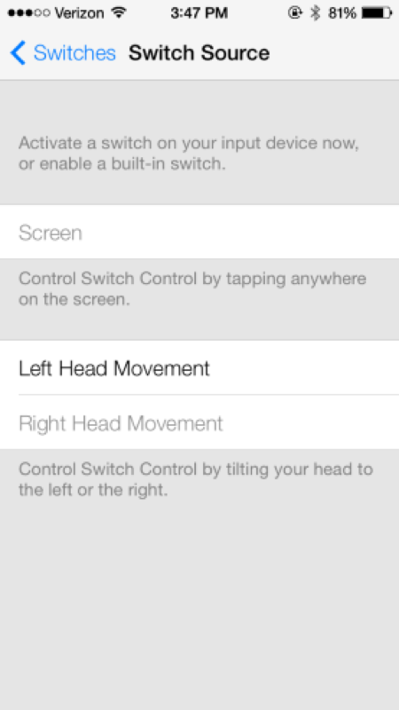 「iOS 7」にはアクセシビリティ機能に、頭の動きで操作できる機能が追加