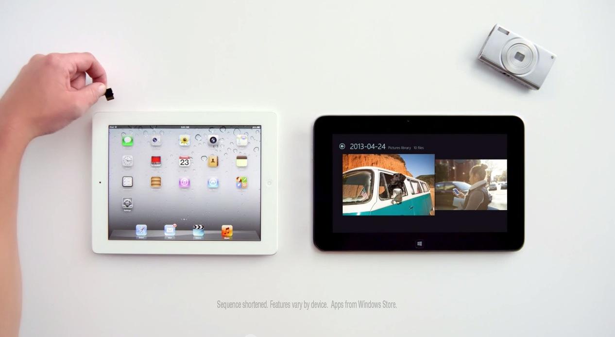 Microsoft、iPadとWindows 8搭載のタブレットデバイス「Dell XPS 10」を比較するCMを公開