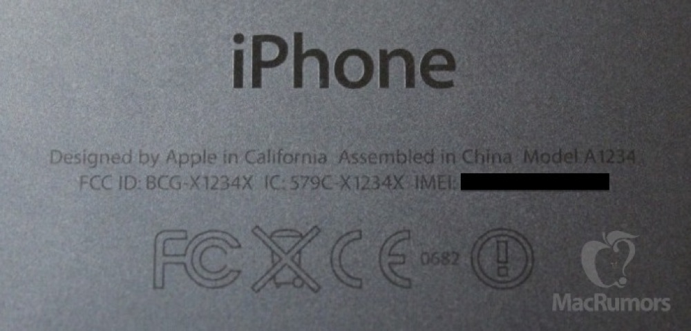 Iphone 5S rear text