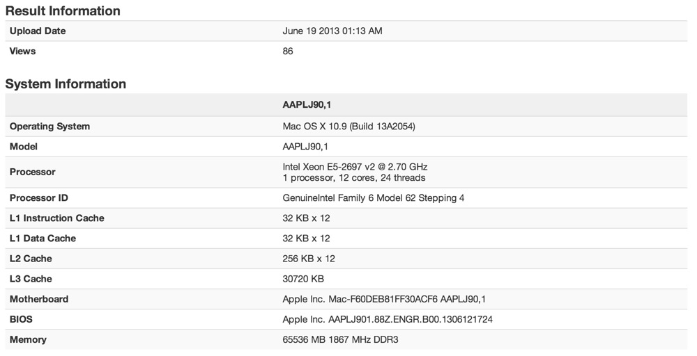 Mac pro 2013 geekbench2