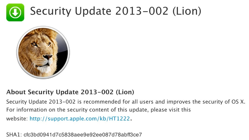 Apple、「OS X Lion」「OS X Snow Leopard」ユーザー向けに「Security Update 2013-002」リリース