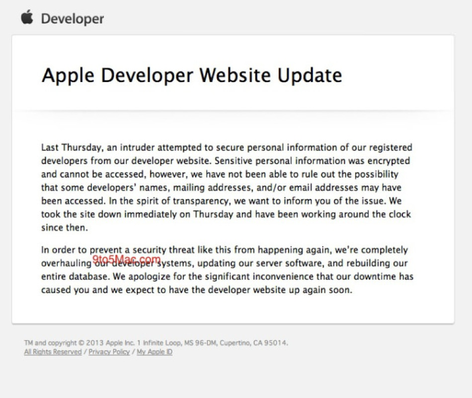 Apple developer outage explanation