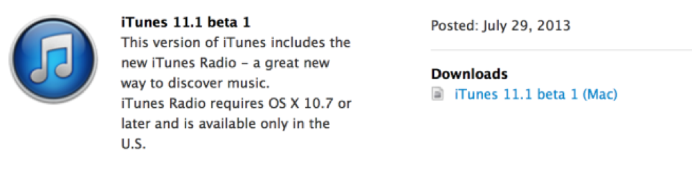 Apple、デベロッパー向けに「iTunes 11.1 beta」リリース