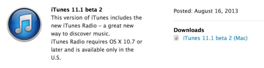 Apple、デベロッパー向けに「iTunes 11.1 beta 2」リリース