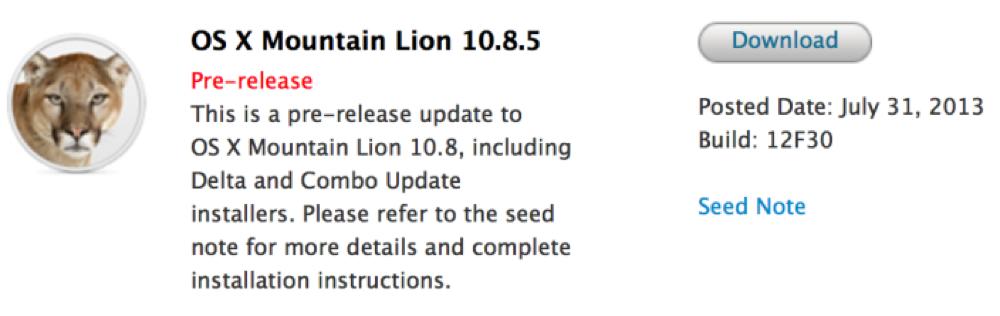 Apple、デベロッパー向けに「OS X 10.8.5 Build 12F30」リリース