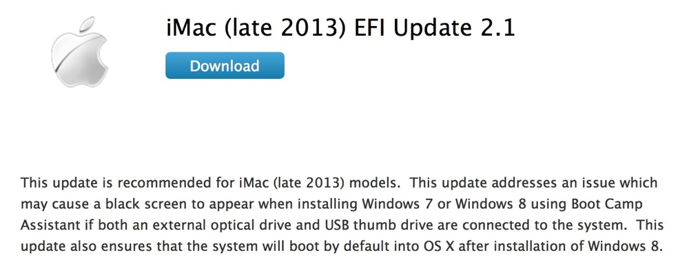Apple、「iMac (Late 2013) EFI Update 2.1」リリース