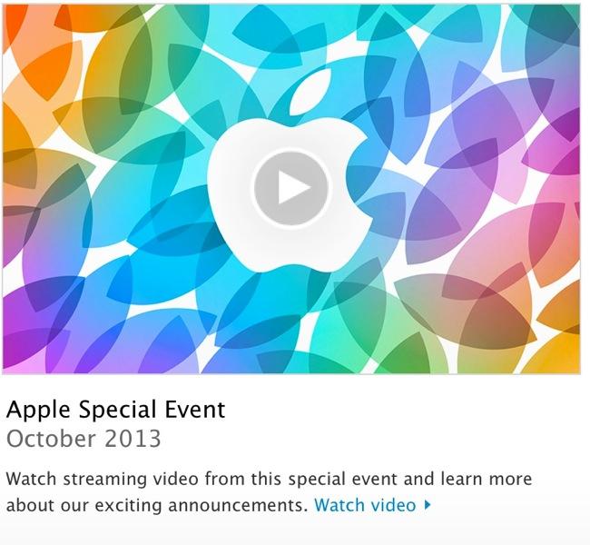 Apple、「iPad Air」や「iPad mini(第2世代)」が発表された「Apple Special Event Octover 2013」のストリーミング配信を開始