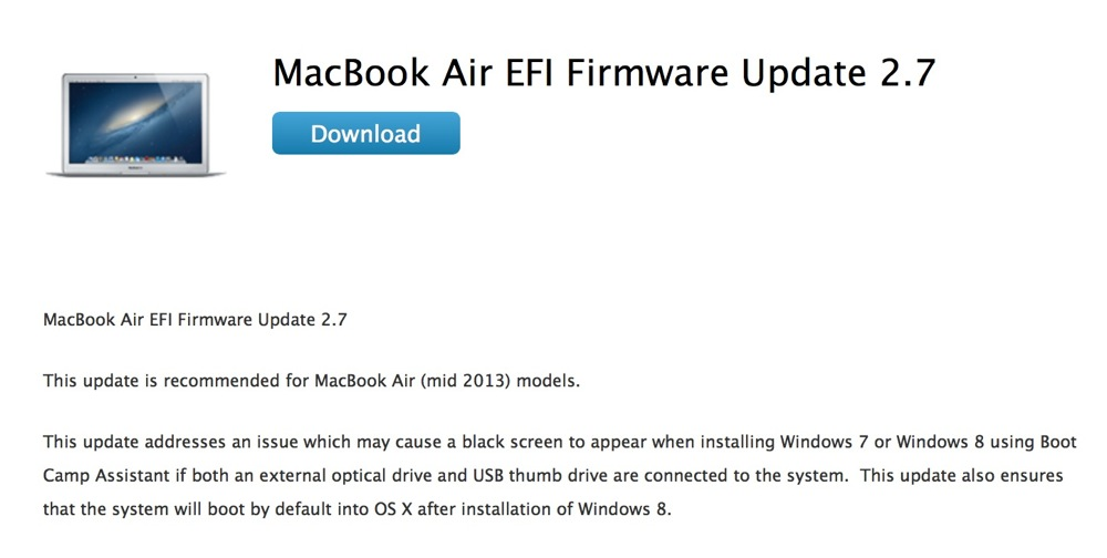Apple、「MacBook Air (Mid 2013)」向け「MacBook Air EFI Firmware Update 2.7」リリース