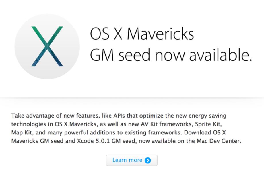 Apple、デベロッパーに対して「OS X Marverics」のGM版をリリース