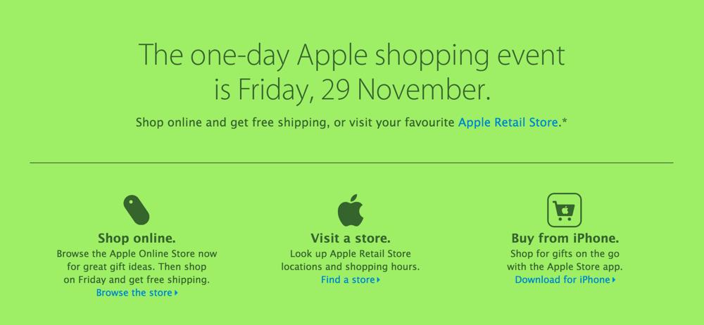 Apple、オーストラリアのオンラインストアで11月29日に1日限りのブラックフライデーセールを開催と案内