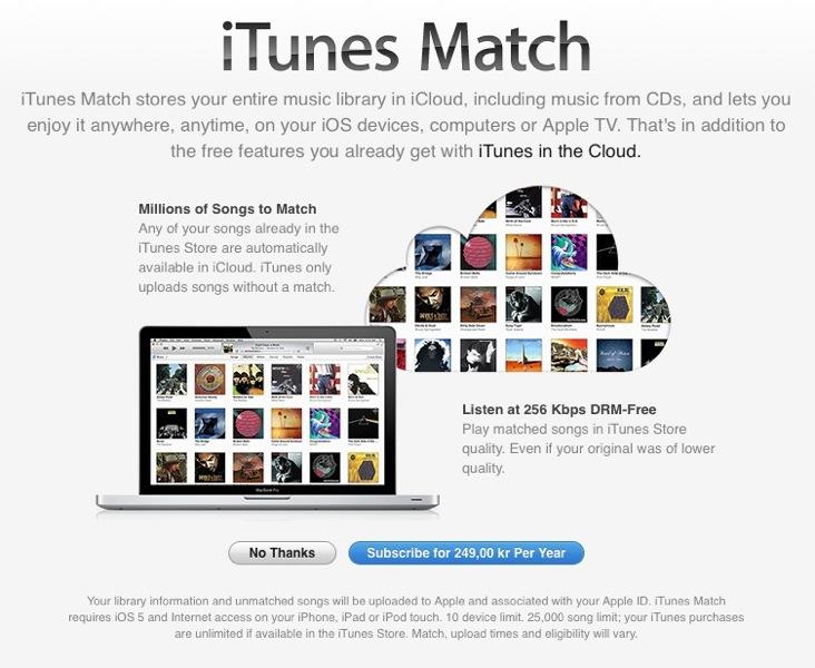 Apple、北欧4カ国で「iTunes Match」サービスの提供を開始