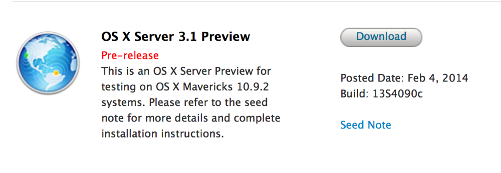Apple、デベロッパー向けに「OS X Server 3.1 Preview(Build 13S4090c)」リリース